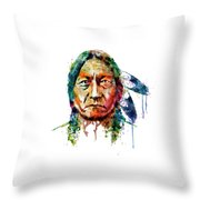 Sitting Bull Watercolor Painting Throw Pillow