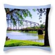 Sitting In Fort Benton Throw Pillow