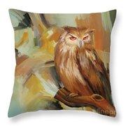 Sitting Owl Throw Pillow