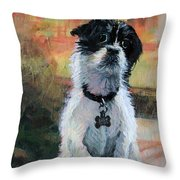 Sitting Pretty - Black And White Puppy Throw Pillow