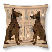 Sitting Proud Dogs And Ancient Egypt Throw Pillow