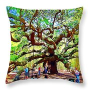 Sitting Under The Live Oaks Throw Pillow