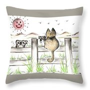 Sitting Watching Cows In The Meadow Throw Pillow