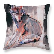 Sitting Wolf Throw Pillow