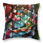 Sitting Woman Fixed In Motion Throw Pillow