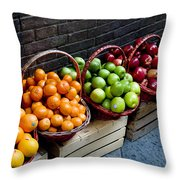 Six Baskets Of Assorted Fresh Fruit Throw Pillow