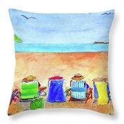 Six Beach Amigos Throw Pillow