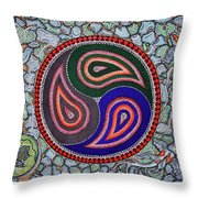 Six Fish And A Frog Throw Pillow