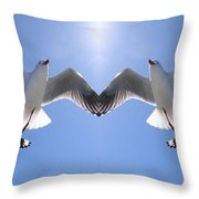 Six Heavenly Backlit Seagulls Flying Overhead In Blue Sky. Throw Pillow