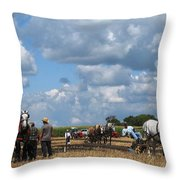 Six Horses Throw Pillow