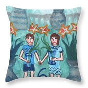 Six Of Cups Illustrated Throw Pillow