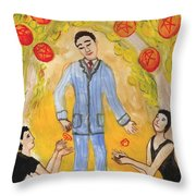 Six Of Pentacles Illustrated Throw Pillow