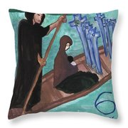 Six Of Swords Illustrated Throw Pillow