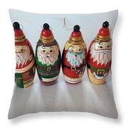 Six Russian Santas Throw Pillow