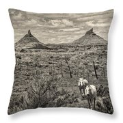 Six-shooter Peaks Throw Pillow by Lou  Novick