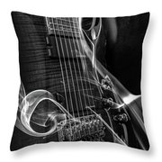 Six Stringer Bw Throw Pillow