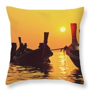 Six Thai Wooden Boats Floating And Glittering In The Lagoon During Golden Sunset Koh  Throw Pillow