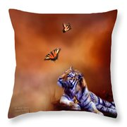 Six Wild Tigers Throw Pillow