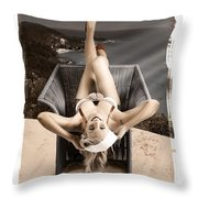 Sixties Classic Pin-up Beauty In Vintage Fashion Throw Pillow by Jorgo Photography - Wall Art Gallery
