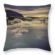 Skaftafellsjokull Lagoon Throw Pillow