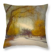 Skaha Path In Winter Throw Pillow