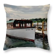 Skaneatelesmailboat Throw Pillow