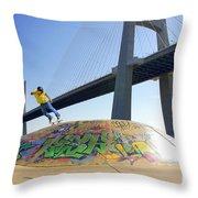 Skate Under Bridge Throw Pillow by Carlos Caetano