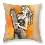Skateboard Pin-up Illustration Throw Pillow