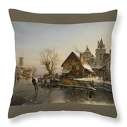 Skaters On The Canal Throw Pillow
