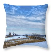 Skating Around The Windmills Throw Pillow