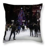 Skating By The Tree Throw Pillow