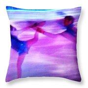 Skating Couple Abstract 2 Throw Pillow