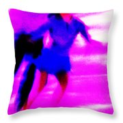 Skating Couple Abstract Throw Pillow