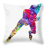 Skating Man-colorful Throw Pillow