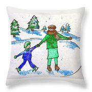 Skating With Mom Throw Pillow