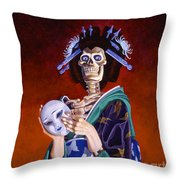 Skeletal Geisha With Mask Throw Pillow