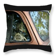 Skeleton Behind The Wheel Of Chevy Truck Throw Pillow