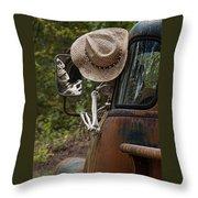 Skeleton Crew - Skeleton Driving A Vintage Truck Throw Pillow