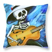 Skeleton Guitar Day Of The Dead  Throw Pillow