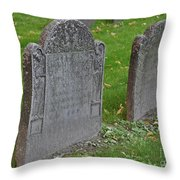Skeleton Tombstone 1600s Throw Pillow