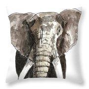 Sketch Elephant Throw Pillow