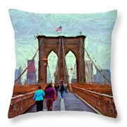 Sketch Of Brooklyn Bridge Pedestrians Throw Pillow