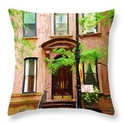Sketch Of Carrie Bradshaw Greenwich Village Brownstone Throw Pillow