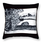 Sketch Of Country Scene Throw Pillow