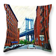 Sketch Of Dumbo Neighborhood In Brooklyn Throw Pillow