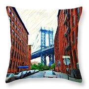 Sketch Of Dumbo Neighborhood In Brooklyn Throw Pillow