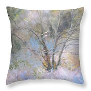 Sketch Of Halation Effect Through Trees Throw Pillow