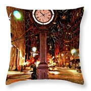 Sketch Of Midtown Clock In The Snow Throw Pillow