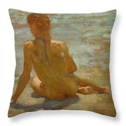 Sketch Of Nude Youth Study For Morning Spelendour Throw Pillow