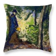 Sketchers In The Woods Throw Pillow